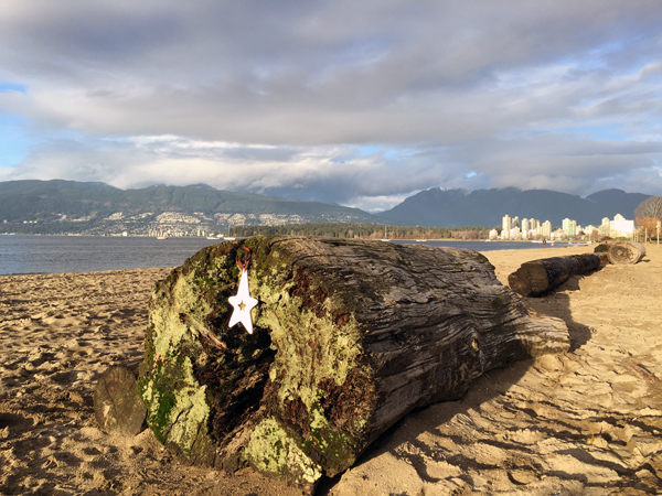23.Dec: Thea (3 years), Local beach looking out to the Coastal Mountain Range and the edge of Down Town Vancouver, Canada -